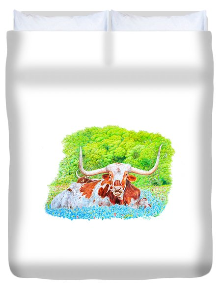 Longhorns In Bluebonnets Duvet Cover