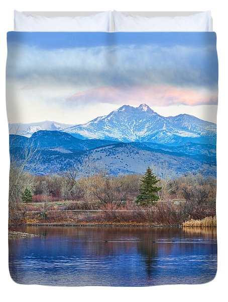 Longs Peak And Mt Meeker Sunrise At Golden Ponds Duvet Cover by James BO  Insogna