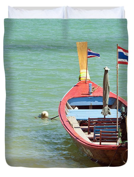 Longtail Boat At Sea Duvet Cover by Bill Brennan
