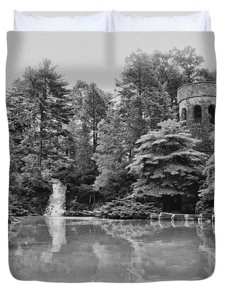 Longwood Gardens Castle In Black And White Duvet Cover