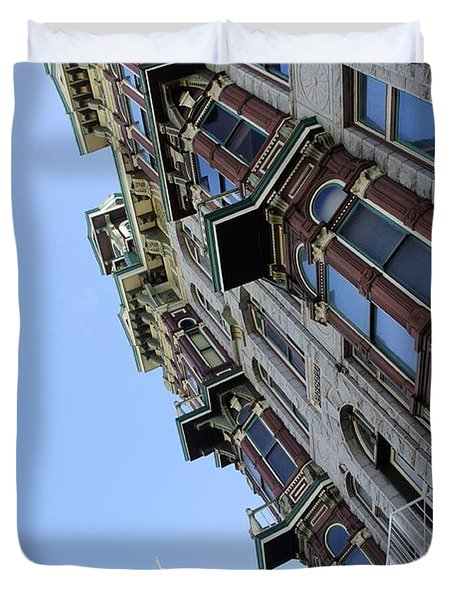 Looking Up From The Gaslamp Duvet Cover by John  Greaves