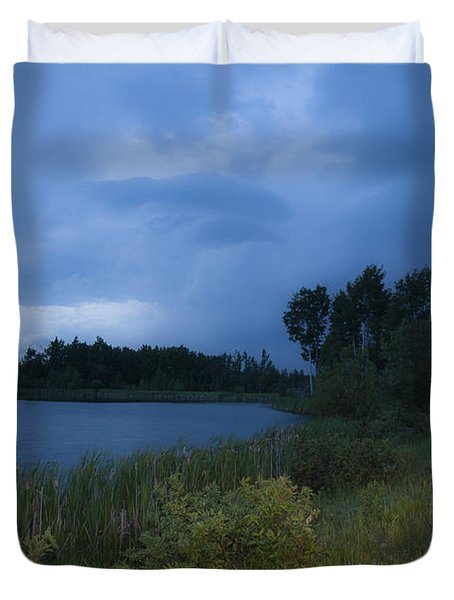 Looming Alberta Storm Duvet Cover by Darcy Michaelchuk