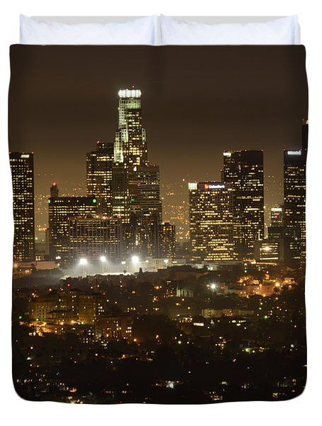 Los Angeles Skyline At Night Duvet Cover by Bob Christopher