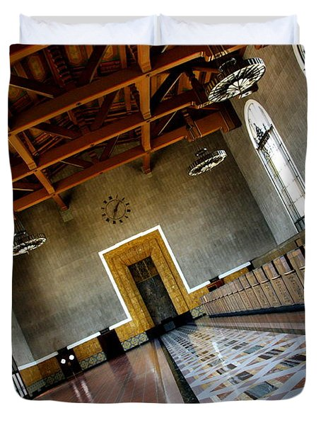 Los Angeles Union Station Terminal Duvet Cover by Jeff Lowe
