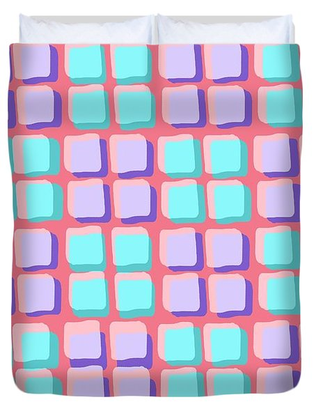 Lots Of Squares Duvet Cover by Louisa Knight