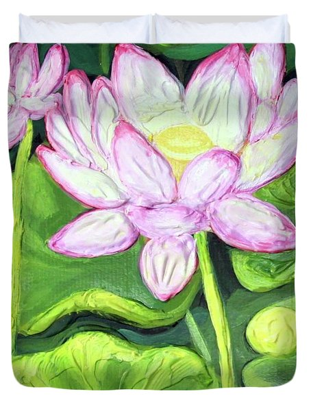 Duvet Cover featuring the painting Lotus 2 by Inese Poga