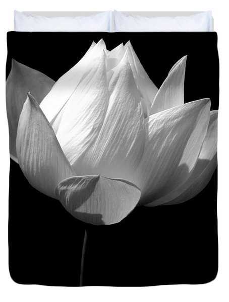 Lotus Bw Duvet Cover by Mark Gilman
