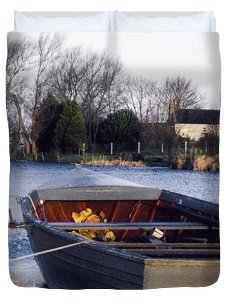 Lough Neagh, Co Antrim, Ireland Boat In Duvet Cover by Sici