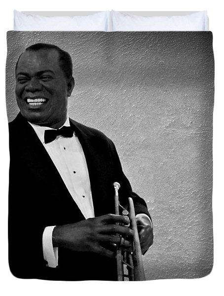 Louis Armstrong Bw Duvet Cover by David Dehner