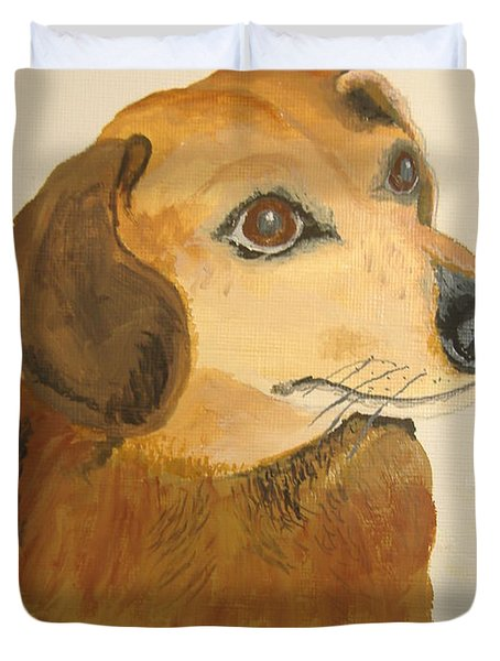 Duvet Cover featuring the painting Lovable Dachshund by Norm Starks