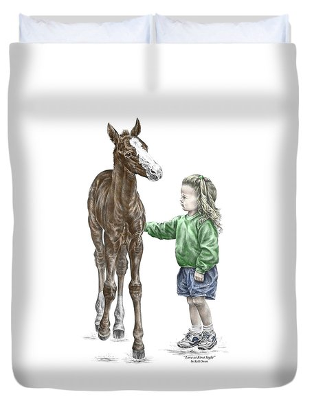 Love At First Sight - Girl And Horse Print Color Tinted Duvet Cover