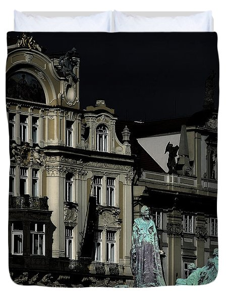 Love Each Other And Wish The Truth To Everyone - Jan Hus Prague Duvet Cover by Christine Till
