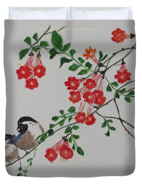 Duvet Cover featuring the painting Love by Sonali Gangane