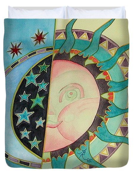 Duvet Cover featuring the painting Love You Day And Night by Anna Ruzsan