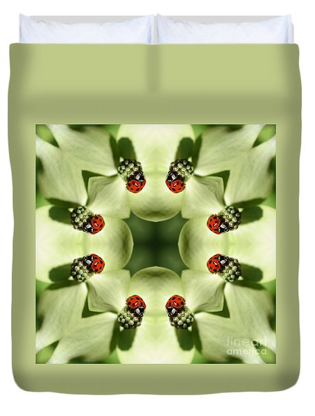 Duvet Cover featuring the digital art Lovely Ladybug Kaleidoscope by Smilin Eyes  Treasures