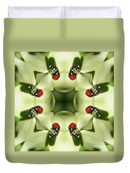 Lovely Ladybug Kaleidoscope Duvet Cover