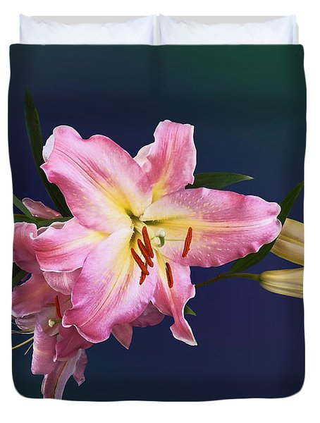 Lovely Pink Lilies Duvet Cover by Susan Savad