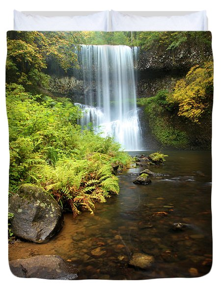 Lower South Falls Duvet Cover by Adam Jewell