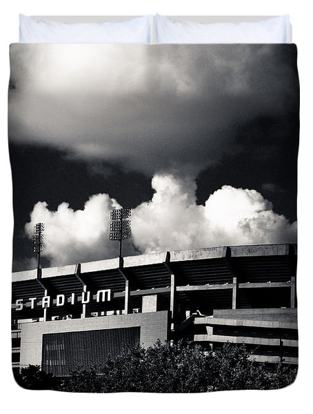 Lsu Tiger Stadium Black And White Duvet Cover by Maggy Marsh