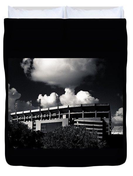 Lsu Tiger Stadium Black And White Duvet Cover