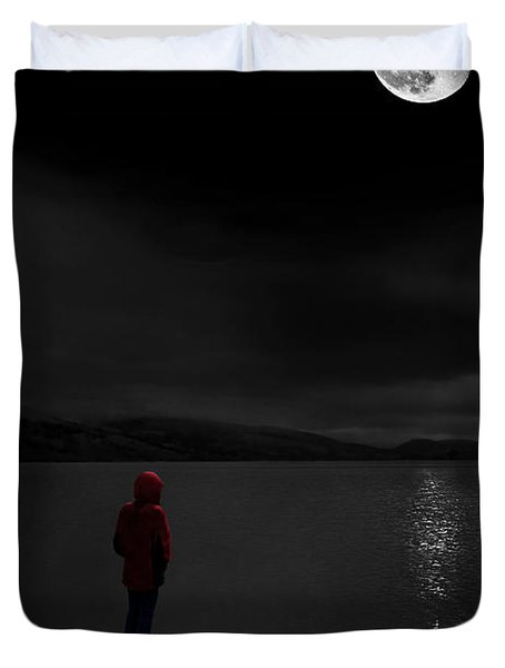 Duvet Cover featuring the photograph Lunatic In Red by Meirion Matthias