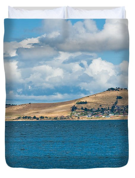 Luxury Yacht Sails In Blue Waters Along A Summer Coast Line Duvet Cover by U Schade