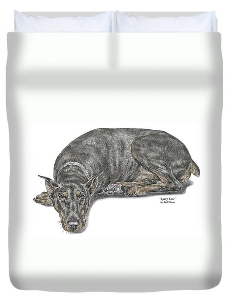 Lying Low - Doberman Pinscher Dog Print Color Tinted Duvet Cover by Kelli Swan