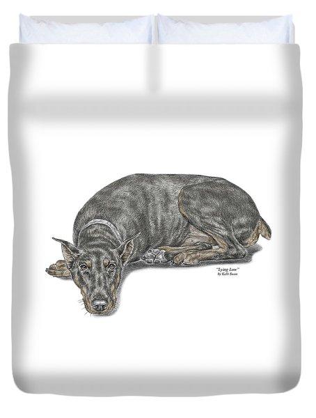 Lying Low - Doberman Pinscher Dog Print Color Tinted Duvet Cover