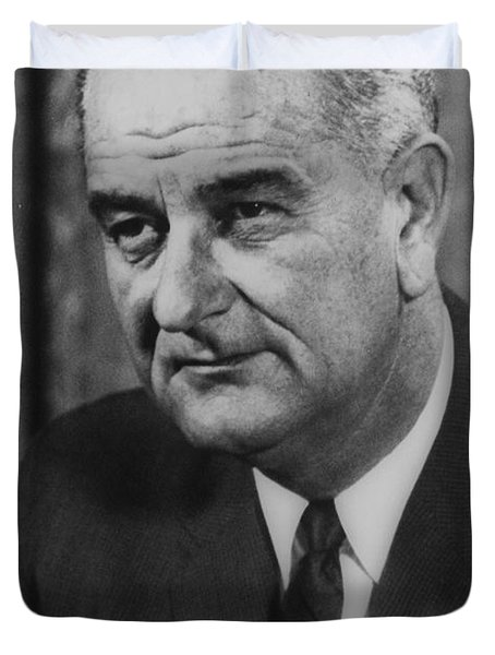 Duvet Cover featuring the photograph Lyndon B Johnson by International  Images