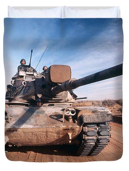 M-60 Battle Tank In Motion Duvet Cover by Stocktrek Images
