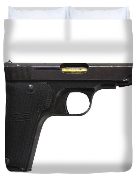 Mab Model D French Police Issue Pistol Duvet Cover by Andrew Chittock