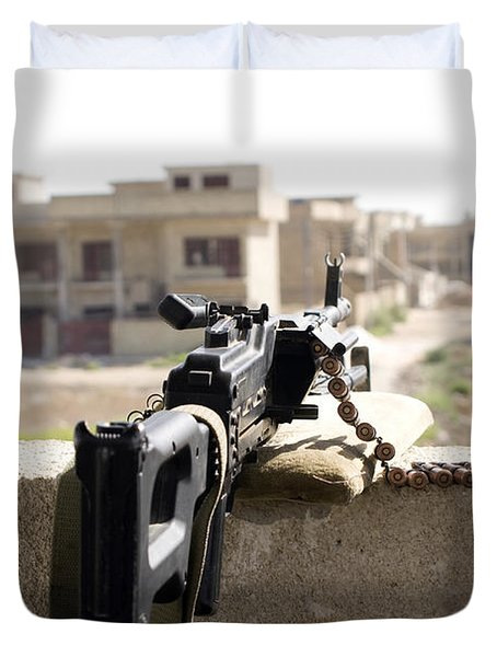 Machine Gun Post At A Prison Duvet Cover by Terry Moore