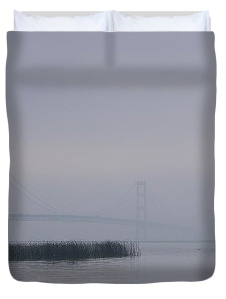 Duvet Cover featuring the photograph Mackinac Bridge And Swans by Randy Pollard