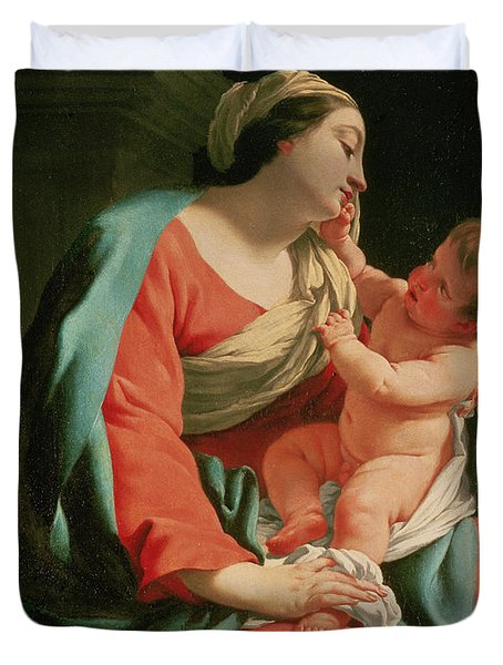 Madonna And Child Duvet Cover by Simon Vouet