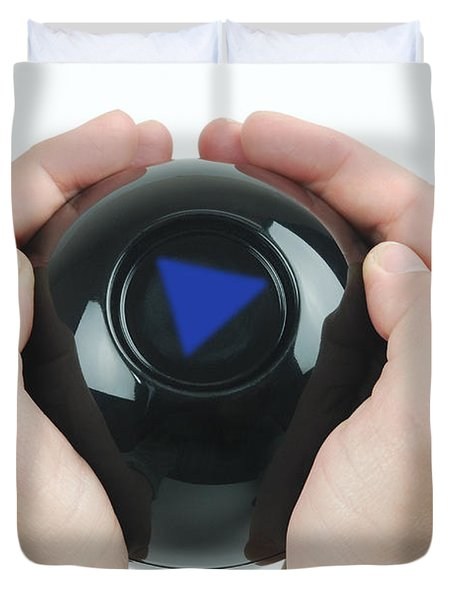 Magic Eight Ball, No Message Duvet Cover by Photo Researchers, Inc.