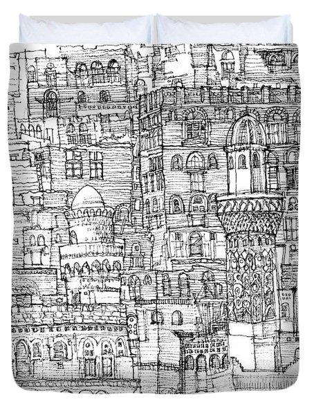 Magical Architecture Of Yemen In Ink  Duvet Cover by Adendorff Design