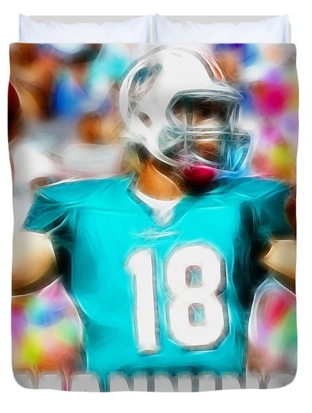 Magical Peyton Manning Miami Dolphins Duvet Cover by Paul Van Scott