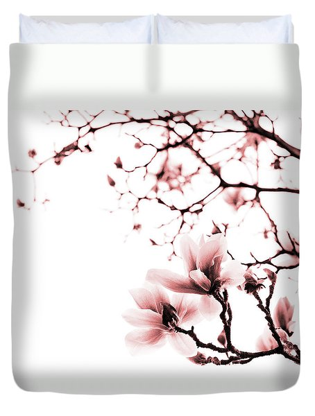 Duvet Cover featuring the photograph Magnolia - Monochrome by Laura Melis