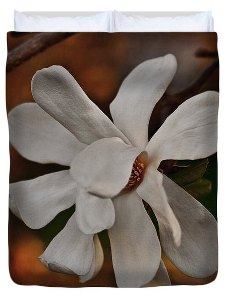 Duvet Cover featuring the photograph Magnolia Bloom by Barbara McMahon