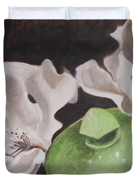 Magnolias With Green Sugar Bowl Duvet Cover