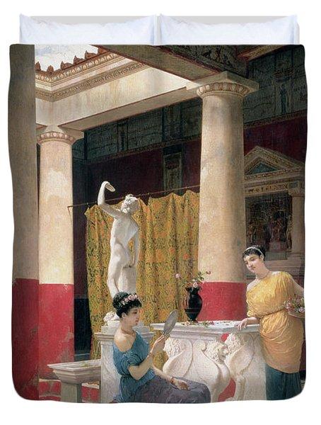 Maidens In A Classical Interior Duvet Cover by Luigi Bazzani