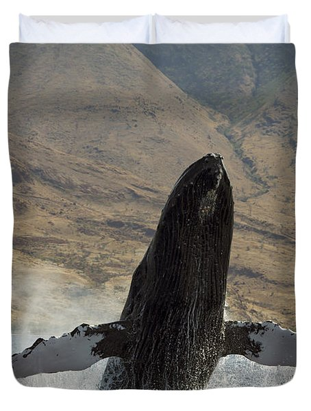Majestic Breaching Whale Duvet Cover by Dave Fleetham