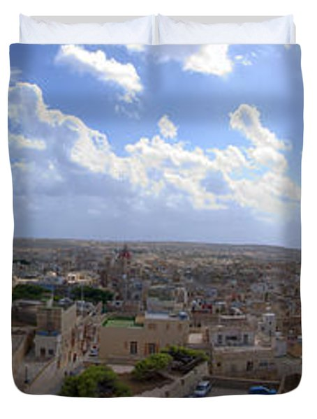 Malta Panoramic View Of Valletta  Duvet Cover by Guy Viner