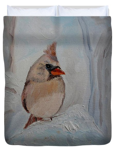 Duvet Cover featuring the painting Mama's On Her Way Home by Julie Brugh Riffey