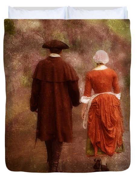 Man And Woman In 18th Century Clothing Walking Duvet Cover by Jill Battaglia