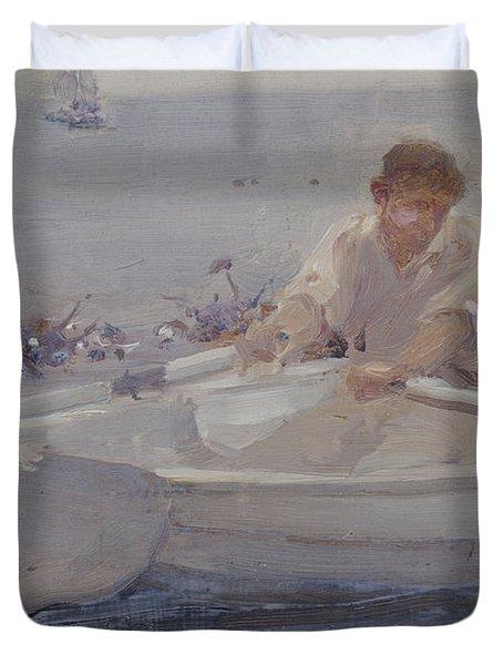 Man In A Rowing Boat Duvet Cover by Henry Scott Tuke