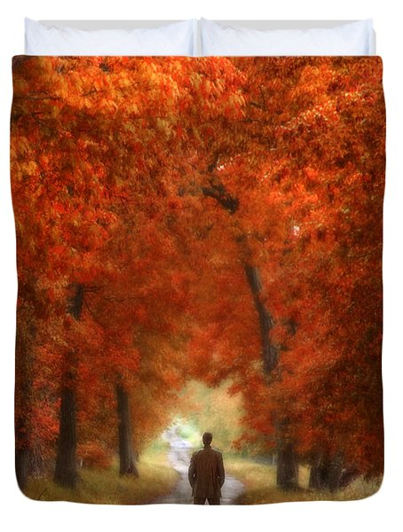 Man In Suit On Rural Road In Autumn Duvet Cover by Jill Battaglia