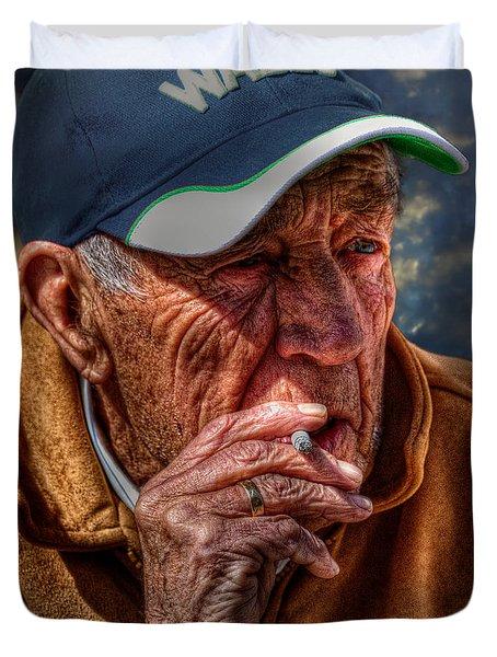 Man Smoking Duvet Cover