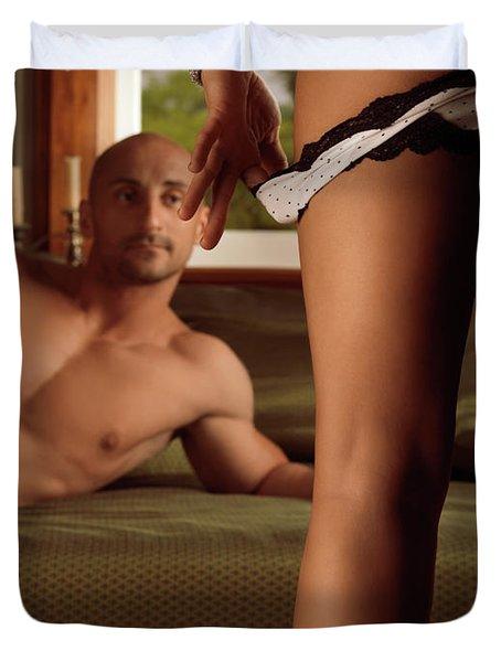 Man Watching Woman Taking Off Her Panties Duvet Cover by Oleksiy Maksymenko
