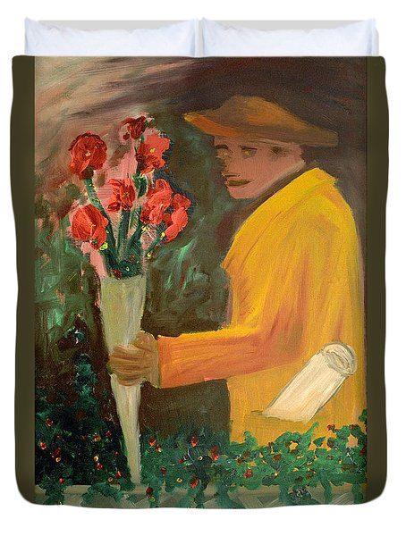 Man With Flowers  Duvet Cover by Bruce Stanfield